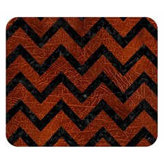 Chevron9 Black Marble & Reddish Brown Leather Double Sided Flano Blanket (small)  by trendistuff