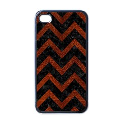 Chevron9 Black Marble & Reddish Brown Leather (r) Apple Iphone 4 Case (black) by trendistuff