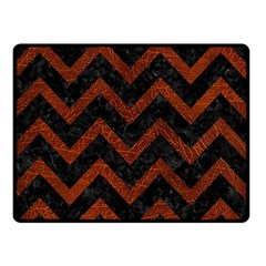 Chevron9 Black Marble & Reddish Brown Leather (r) Double Sided Fleece Blanket (small)  by trendistuff