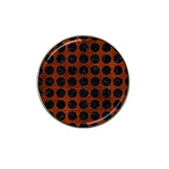 Circles1 Black Marble & Reddish Brown Leather Hat Clip Ball Marker by trendistuff