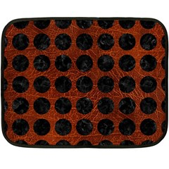 Circles1 Black Marble & Reddish Brown Leather Double Sided Fleece Blanket (mini)
