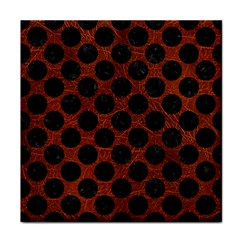 Circles2 Black Marble & Reddish Brown Leather Tile Coasters by trendistuff