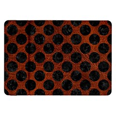 Circles2 Black Marble & Reddish Brown Leather Samsung Galaxy Tab 8 9  P7300 Flip Case by trendistuff