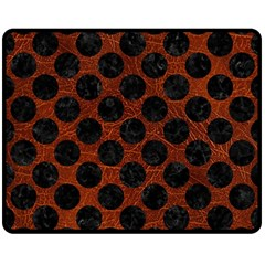 Circles2 Black Marble & Reddish Brown Leather Double Sided Fleece Blanket (medium)  by trendistuff