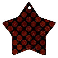 Circles2 Black Marble & Reddish Brown Leather (r) Ornament (star) by trendistuff