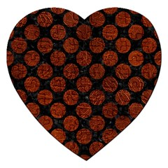 Circles2 Black Marble & Reddish Brown Leather (r) Jigsaw Puzzle (heart) by trendistuff