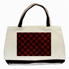Circles2 Black Marble & Reddish Brown Leather (r) Basic Tote Bag by trendistuff