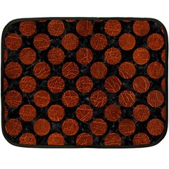 Circles2 Black Marble & Reddish Brown Leather (r) Double Sided Fleece Blanket (mini)  by trendistuff