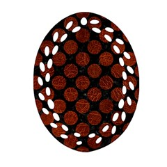 Circles2 Black Marble & Reddish Brown Leather (r) Oval Filigree Ornament (two Sides) by trendistuff