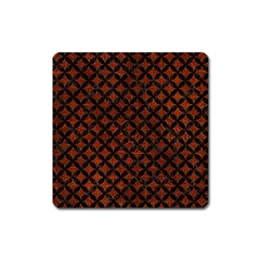 Circles3 Black Marble & Reddish Brown Leather Square Magnet by trendistuff