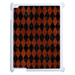 Diamond1 Black Marble & Reddish Brown Leather Apple Ipad 2 Case (white)
