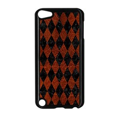 Diamond1 Black Marble & Reddish Brown Leather Apple Ipod Touch 5 Case (black) by trendistuff