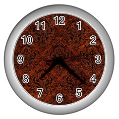 Damask1 Black Marble & Reddish Brown Leather Wall Clocks (silver)