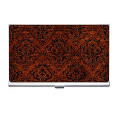 Damask1 Black Marble & Reddish Brown Leather Business Card Holders by trendistuff