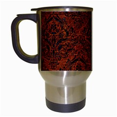 Damask1 Black Marble & Reddish Brown Leather Travel Mugs (white) by trendistuff