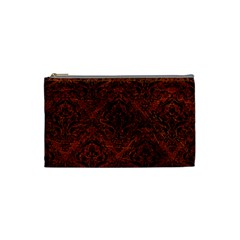 Damask1 Black Marble & Reddish Brown Leather Cosmetic Bag (small)  by trendistuff