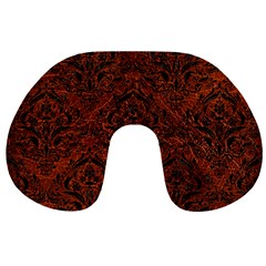 Damask1 Black Marble & Reddish Brown Leather Travel Neck Pillows by trendistuff