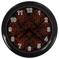 Damask1 Black Marble & Reddish Brown Leather (r) Wall Clocks (black) by trendistuff