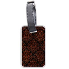 Damask1 Black Marble & Reddish Brown Leather (r) Luggage Tags (one Side)  by trendistuff
