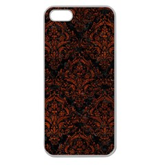 Damask1 Black Marble & Reddish Brown Leather (r) Apple Seamless Iphone 5 Case (clear) by trendistuff