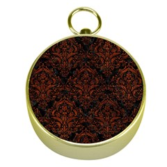 Damask1 Black Marble & Reddish Brown Leather (r) Gold Compasses by trendistuff