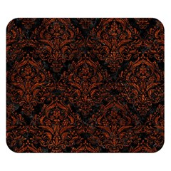Damask1 Black Marble & Reddish Brown Leather (r) Double Sided Flano Blanket (small)  by trendistuff