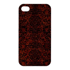 Damask2 Black Marble & Reddish Brown Leather Apple Iphone 4/4s Hardshell Case by trendistuff