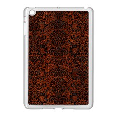 Damask2 Black Marble & Reddish Brown Leather Apple Ipad Mini Case (white) by trendistuff
