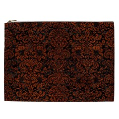 Damask2 Black Marble & Reddish Brown Leather (r) Cosmetic Bag (xxl)  by trendistuff