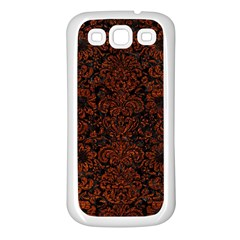 Damask2 Black Marble & Reddish Brown Leather (r) Samsung Galaxy S3 Back Case (white) by trendistuff