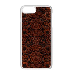 Damask2 Black Marble & Reddish Brown Leather (r) Apple Iphone 7 Plus White Seamless Case by trendistuff