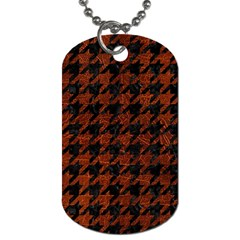 Houndstooth1 Black Marble & Reddish Brown Leather Dog Tag (one Side)