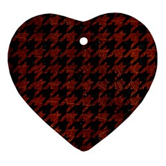 Houndstooth1 Black Marble & Reddish Brown Leather Heart Ornament (two Sides) by trendistuff