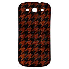 Houndstooth1 Black Marble & Reddish Brown Leather Samsung Galaxy S3 S Iii Classic Hardshell Back Case by trendistuff