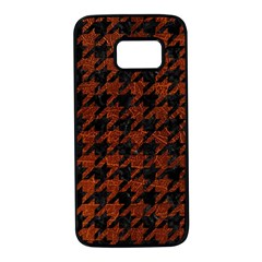 Houndstooth1 Black Marble & Reddish Brown Leather Samsung Galaxy S7 Black Seamless Case by trendistuff