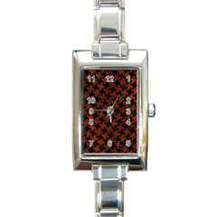 Houndstooth2 Black Marble & Reddish Brown Leather Rectangle Italian Charm Watch by trendistuff
