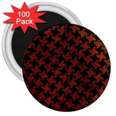 Houndstooth2 Black Marble & Reddish Brown Leather 3  Magnets (100 Pack) by trendistuff