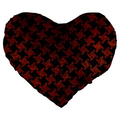 Houndstooth2 Black Marble & Reddish Brown Leather Large 19  Premium Flano Heart Shape Cushions by trendistuff