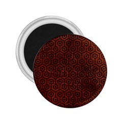 Hexagon1 Black Marble & Reddish Brown Leather 2 25  Magnets by trendistuff
