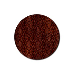 Hexagon1 Black Marble & Reddish Brown Leather Rubber Coaster (round)  by trendistuff