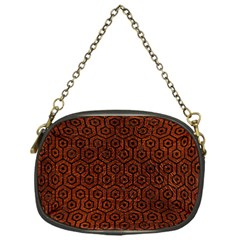 Hexagon1 Black Marble & Reddish Brown Leather Chain Purses (one Side)  by trendistuff