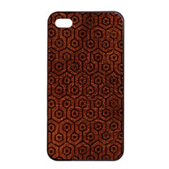 Hexagon1 Black Marble & Reddish Brown Leather Apple Iphone 4/4s Seamless Case (black) by trendistuff