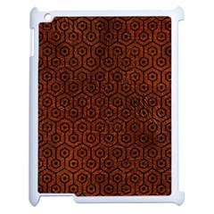 Hexagon1 Black Marble & Reddish Brown Leather Apple Ipad 2 Case (white) by trendistuff