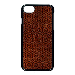 Hexagon1 Black Marble & Reddish Brown Leather Apple Iphone 7 Seamless Case (black) by trendistuff