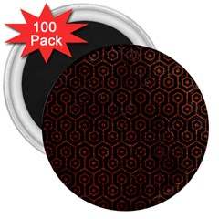 Hexagon1 Black Marble & Reddish Brown Leather (r) 3  Magnets (100 Pack) by trendistuff