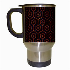 Hexagon1 Black Marble & Reddish Brown Leather (r) Travel Mugs (white) by trendistuff