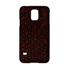Hexagon1 Black Marble & Reddish Brown Leather (r) Samsung Galaxy S5 Hardshell Case  by trendistuff