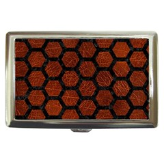 Hexagon2 Black Marble & Reddish Brown Leather Cigarette Money Cases by trendistuff