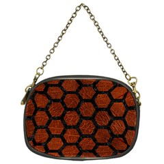 Hexagon2 Black Marble & Reddish Brown Leather Chain Purses (one Side)  by trendistuff