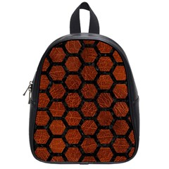 Hexagon2 Black Marble & Reddish Brown Leather School Bag (small) by trendistuff